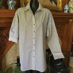 GoSilk Tops - New Go Silk Long Sleeve Skinny Stripe Big Shirt XL